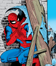 Peter Parker (Earth-616) cowers from his foes in Amazing Spider-Man vol 1 18