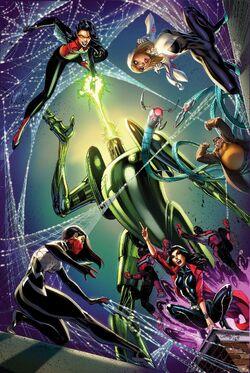 Spider-Women Alpha Vol 1 1, Spider-Gwen Vol 2 7, Silk Vol 2 7, and Spider-Woman Vol 6 6 Campbell Connecting Variants Textless