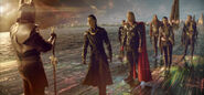 Heimdall (Earth-199999), Thor Odinson (Earth-199999), Loki Laufeyson (Earth-199999), Sif (Earth-199999), and Warriors Three (Earth-199999) from Thor (film) 001