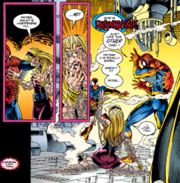 Peter Parker (Earth-616), Gwen Stacy Clone (Earth-616), and Ben Reilly (Earth-616) from Spider-Man Vol 1 56 001