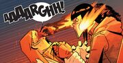 Alejandra Jones (Earth-15513) stabbing Arcade (Earth-15513) in the eyes from Ghost Racers Vol 1 4