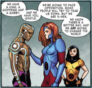 Nezhno Abidemi (Earth-616) and Jean Grey (Earth-616) with Gabrielle Kinney (Earth-616) from X-Men Red Vol 1 4 002