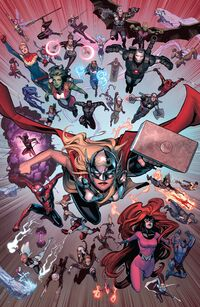 Avengers (Earth-616), Ultimates (Earth-616), A-Force (Earth-616), Avengers Unity Division (Earth-616), X-Men (Earth-616), New Avengers (Earth-616) and Inhumans (Inhomo supremis) from Civil War II Vol 1 1 001