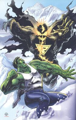 Bruce Banner (Earth-616) and Primevil (Earth-93060) from Battlezones Dream Team 2 Vol 1 1 0001