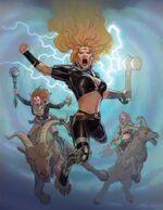 Goddesses of Thunder (Earth-14412), Toothgnasher (Earth-14412), and Toothgrinder (Earth-14412) from Thor God of Thunder Vol 1 22 001