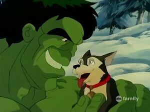 Hulk cuddles Scout