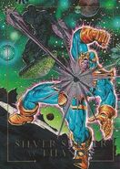 Norrin Radd and Thanos (Earth-616) from Marvel Masterpieces Trading Cards 1992 Battle Cards 0001