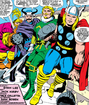 Thor Odinson (Earth-616) and the Warriors Three from Thor Vol 1 130