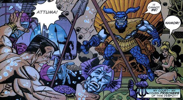 File:Atlanteans, Attuma, Namor McKenzie, Namorita Prentiss (Earth-616) from Defenders Vol 2 5.jpg