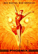 Rachel Summers (Earth-811) and Phoenix Force (Earth-616) from Marvel Masterpieces Trading Cards 1993 Series 0001