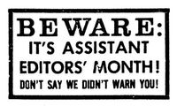 Assistant Editor's Month 1984