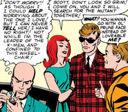 Charles Xavier (Earth-616), Jean Grey (Earth-616), Scott Summers (Earth-616) and Robert Drake (Earth-616) from X-Men Vol 1 3 0001