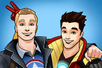 Steven Rogers (Earth-TRN562) and Anthony Stark (Earth TRN562) from Marvel Avengers Acaddemy 001