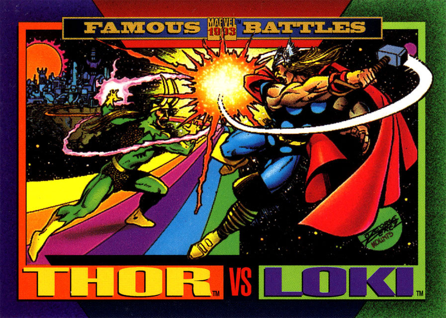 Thor Odinson (Earth-616) and Loki Laufeyson (Earth-616) from Marvel Universe Cards Series IV 0001