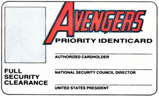 Avengers Identicard from Official Handbook of the Marvel Universe Vol 1 15 001