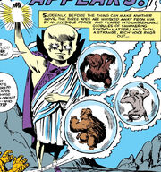 Uatu (Earth-616), Benjamin Grimm (Earth-616), and Super-Apes (Earth-616) from Fantastic Four Vol 1 13 001