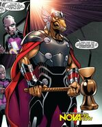 Gron (Earth-616) and Beta Ray Bill (Earth-616) from Nova Vol 5 12 001