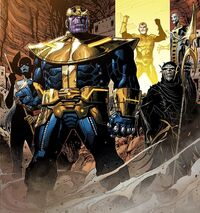Black Order (Earth-616), Thanos (Earth-616), and Thane (Earth-616) from Infinity Vol 1 6 001