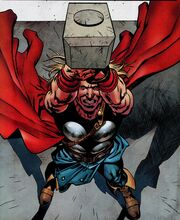 Thor Odinson (Earth-616) lifts Mjolnir for the first time in Avengers Origins Thor Vol 1 1