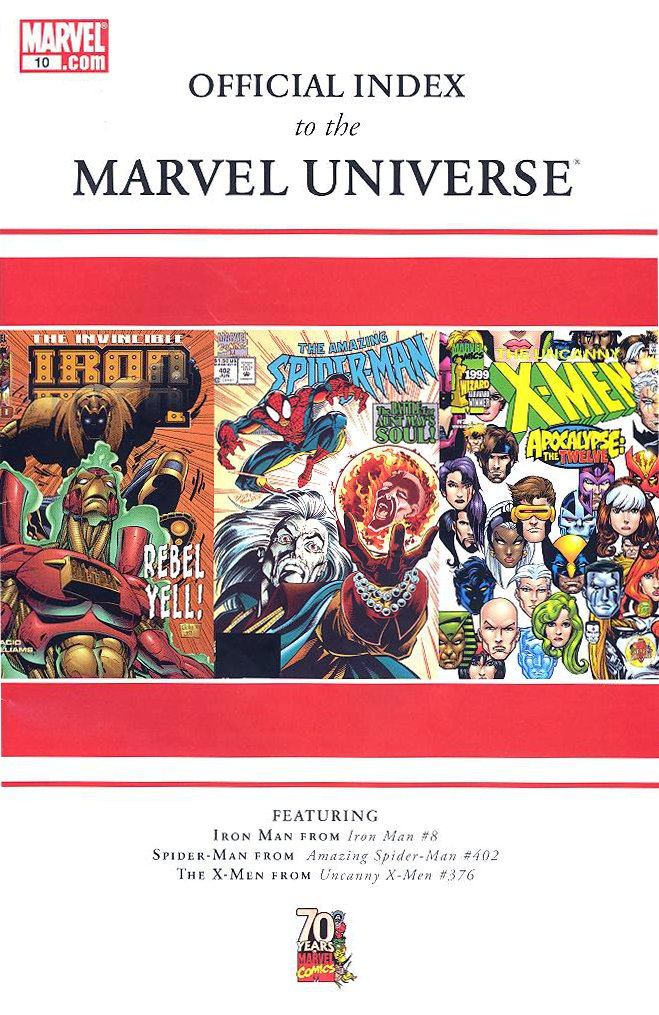 official index to the marvel universe vol 1 10 marvel