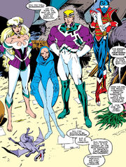 Lockheed (Earth-616) and Lightning Force (Earth-597) from Excalibur Vol 1 9 0001