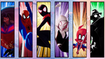 Miles Morales (Earth-TRN700) Peter Parker (Earth-TRN701) Gwendolyn Stacy (TRN702) Peter Parker (Earth-TRN703) Peni Parker (Earth-TRN704) and Peter Porker (Earth-TRN705) from Spider-Man Into the Spider-Verse 002