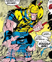 Henry McCoy (Earth-616) as Gladiator Hank from Excalibur XX Crossing Vol 1 1