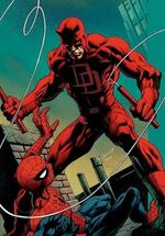 Matthew Murdock (Earth-1610) and Peter Parker (Earth-1610) from Ultimate Spider-Man Vol 1 106 Cover