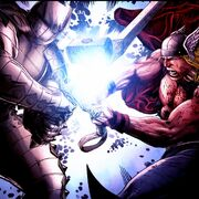 Thor Odinson (Earth-616) battles Odin in the Destroyer armor from Thor Man of War Vol 1 1
