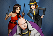 Elektra Natchios (Earth-TRN562), Janet van Dyne (Earth-TRN562), and Wilson Fisk (Earth-TRN562) from Marvel Avengers Academy 001