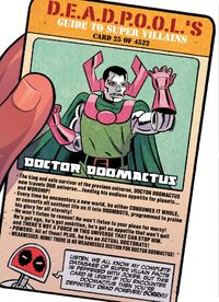 Doctor Doomactus (Warp World) (Earth-616) on Deadpool's Guide to Super Villains Cards from Infinity Wars- Infinity Warps Vol 1 1 001