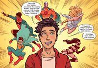 Victor Mancha (Earth-616) and J-Team (Earth-616) from Runaways Vol 5 26 001