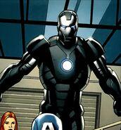 Anthonio Stark (Earth-1610) with Iron Man Armor (New Ultimates) (Earth-1610) from Ultimate New Ultimates Vol 1 3 001