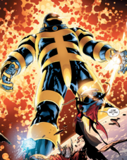Exitar (Earth-13133), Eimin (Earth-13133), and Thor Odinson (Earth-13133) from Uncanny Avengers Vol 1 16 001
