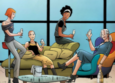 Patricia Walker (Earth-616), Angelica Jones (Earth-616), Monica Rambeau (Earth-616) and Felicia Hardy (Earth-616) from Marvel Divas Vol 1 4 (001)