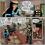 Alexander Summers (Earth-616) and James Madrox (Earth-616) talk about Max Eisenhardt (Earth-616) and Lorna Dane (Earth-616)'s relation in X-Factor Vol 1 246