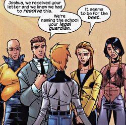 Joshua Foley (Earth-616), Howard Foley (Earth-616), Grace Foley (Earth-616), Charles Xavier (Earth-616) and from New Mutants Vol 2 7 0001