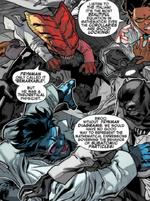 X-Men (Earth-TRN338) and T'Challa (Earth-TRN338) from AVX Vs Vol 1 6 0001
