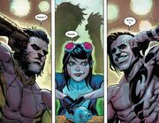 James Howlett (Earth-616), Gabrielle Kinney (Earth-616) and Akihiro (Earth-616) from X-Force Vol 6 9 001