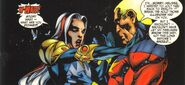 Melissa Gold (Earth-98120) and Genis-Vell (Earth-98120) from Avengers Forever Vol 1 1 0001