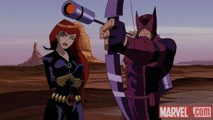 Natasha Romanoff (Earth-8096) and Clinton Barton (Earth-8096) from Avengers Micro Episodes The Hulk Season 1 3 0001