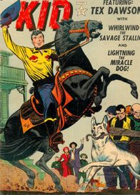Tex Dawson (Earth-616), Whirlwind (Horse) (Earth-616), and Lightning (Dog) (Earth-616) from Western Kid Vol 1 1 Cover