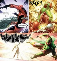 Ultron (Earth-616) and Henry Pym (Earth-616) merging from Avengers Rage of Ultron Vol 1 1