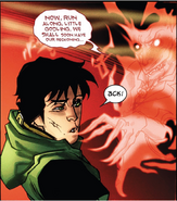 Loki Laufeyson (Kid Loki) (Earth-616) and Mephisto (Earth-616) from New Mutants Vol 3 43 0001