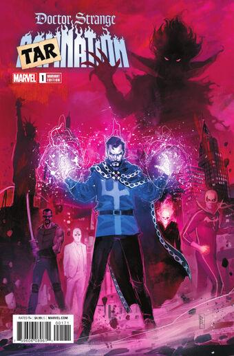 Connecting Variant of 4 Doctor Strange Damnation #1