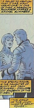 Rachel Summers (Earth-967) and Franklin Richards (Earth-967) from Fantastic Four Vol 1 414 0001