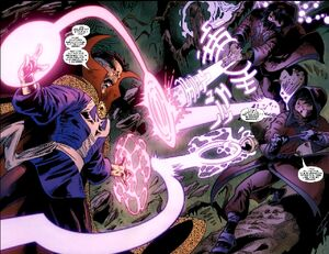 Tina Minoru (Earth-616) and Robert Minoru (Earth-616) battling Stephen Strange (Earth-616) from Iron Man Legacy Vol 1 11 001