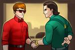 Matthew Murdock (Earth-TRN562) and Loki Laufeyson (Earth-TRN562) from Marvel Avengers Academy 001