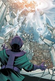 Kang Dynasty (Earth-6311) being destroyed from Uncanny Avengers Vol 1 12