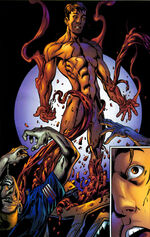 Peter Parker (Earth-1610) and Carnage (Symbiote) (Earth-1610) from Ultimate Spider-Man Vol 1 64 0001